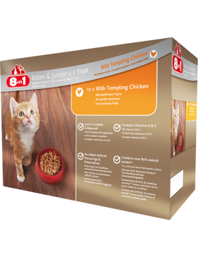 8IN1 HUMIDE CHATON POULET 12X100 GR